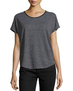 Vince - Striped Short-Sleeve Linen Tee