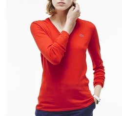 Lacoste - Long Sleeve Cotton Double Overlay Sweater