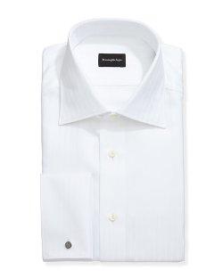 Ermenegildo Zegna   - Wide-Stripe French-Cuff Dress Shirt