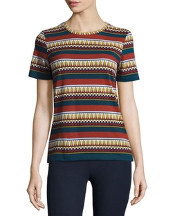 Tory Burch - Libby Multi-Stripe Graphic Tee
