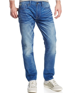 Guess - Slim-Fit Tapered Dark Peacock-Wash Jeans