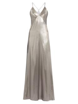 Galvan   - V-Neck Sleeveless Silk-Satin Gown