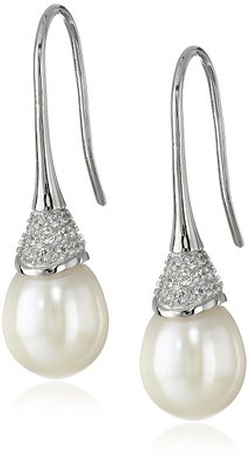Bella Pearl  - Cubic Zirconia Dangling Pearl Drop Earrings