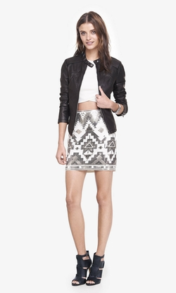 Express - Ivory And Silver Aztec Sequin Mini Skirt