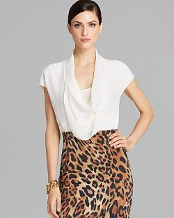 Escada - Blouse - Cap Sleeve Cowlneck