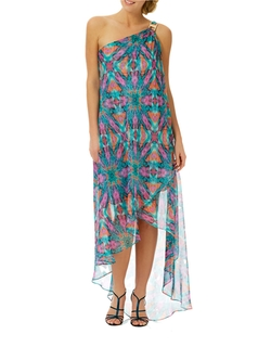 Laundry By Shelli Segal - Abstract Print Chiffon One-Shoulder Dress