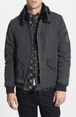 Native Youth - Bomber Jacket with Faux Fur Collar