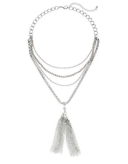 Punch - Multi Strand Chain Tassel Necklace
