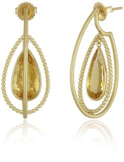 Suzy Landa  - 18k Yellow Gold and Canary Beryl Teardrop Earrings