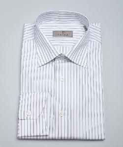 Canali - Stripe Print Cotton Spread Collar Dress Shirt