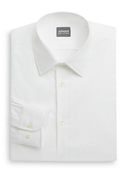 Armani Collezioni  - Textured Striped Cotton Dress Shirt