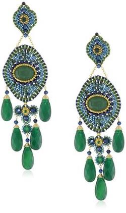 Miguel Ases - Green Onyx Drop Earrings