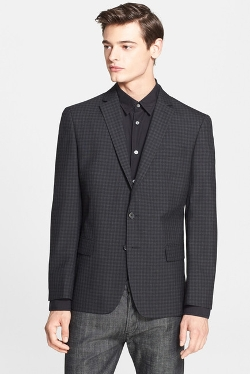 Star USA by John Varvatos - Black Check Trim Fit Wool Blend Blazer