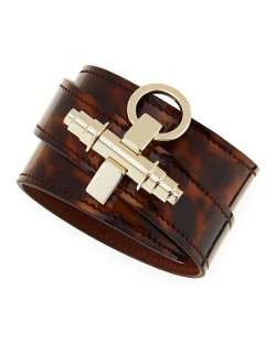 Givenchy - Tortoise Leather Wrap Bracelet