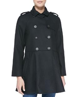 Red Valentino   - Double-Breasted Flounce Trench Coat