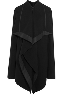 Rick Owens - Draped Satin-Trimmed Wool-Blend Coat