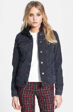 Topshop  - Moto Fleece Collar Denim Jacket