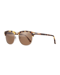 Tom Ford - Henry Shiny Half-Rim Sunglasses