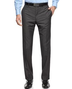 Calvin Klein  - Pants Herringbone 100% Wool Slim Fit