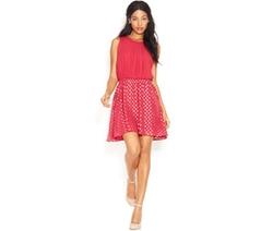 Maison Jules  - Sleeveless Dot-Print Flared Dress
