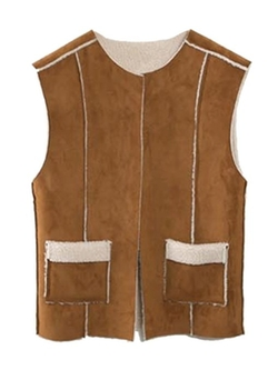 Choies - Suede Collarless Waistcoat