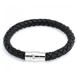 Bling Jewelry  - Black Braided Round Leather Cord Bracelet