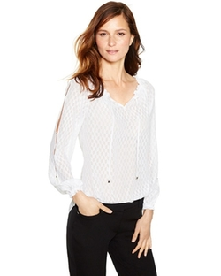 White House Black Market -  Long Sleeve Chevron Burnout Blouse