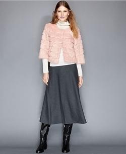 The Fur Vault - Rabbit Fur Scalloped-Trim Cropped Jacket