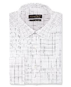 Donald J. Trump - White and Grey Check French Cuff Shirt