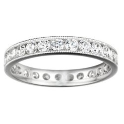 TwoBirch - Milgrained Edges Set With Diamonds Eternity Band
