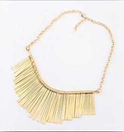 Artly Vintage - Elegantly Punky Gold Fringe Bib Necklace