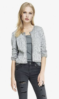 Express - Cropped Bead Embellished French Terry Jacket