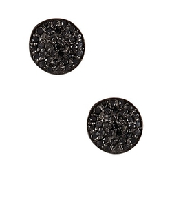 Vanhi  - Pave Black Diamond Stud Earrings