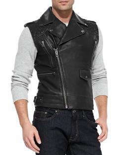 Andrew Marc x Richard Chai  - Jagger Asymmetrical Quilted Leather Vest