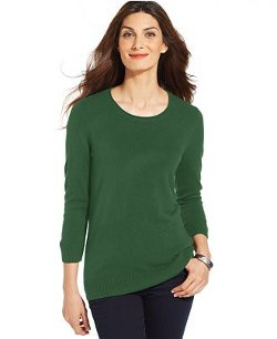 Karen Scott - Luxsoft Long-Sleeve Crew-Neck Sweater