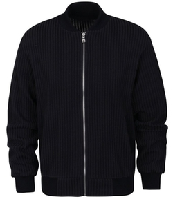 ililily - Striped Ribbed Knit Blouson Track Jacket