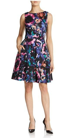 Taylor  - Floral Print Fit-And-Flare Dress