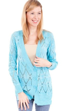 Clothes Effect  - Sprinkles Ladies Long Sleeve V-Neck 3 Button Knit Cardigan