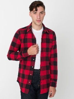 American Apparel - Brushed Plaid Cotton Twill Long Sleeve Button