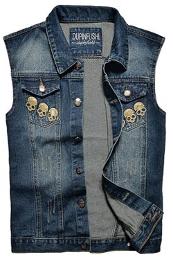 Mright - Washable Sleeveless Skull Sports Denim Vest