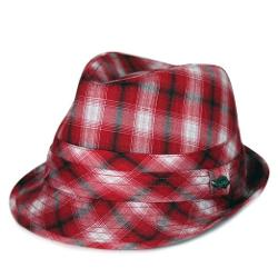 City Hunter  - Pmt130 Trilby Washed Plaid Fedora