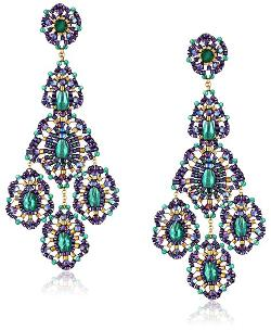 Miguel Ases  - Green Onyx Gold Filled Triple Drop Earrings