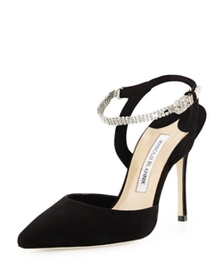 Manolo Blahnik	  - Ministra Crystal Ankle-Strap Pump