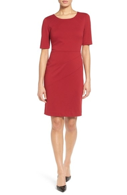 Ellen Tracy - Seamed Ponte Sheath Dress