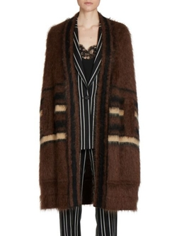 Givenchy  - Striped Mohair Long Cape