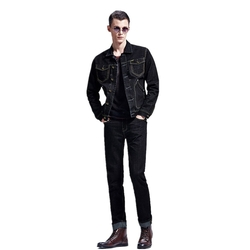 Tengfu - Mens Vintage Rugged Trucker Relaxed Black Denim Motorcycle Jacket