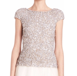 Theia  - Cap-Sleeve Crunchy Sequin Top