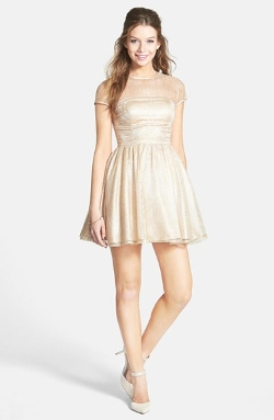 Hailey Logan  - Metallic Illusion Skater Dress