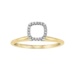 Cherish Always - Diamond Accent Gold Square Solitaire Ring