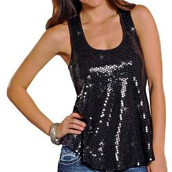 Rock & Roll Cowgirl  - Sequin Tank Top